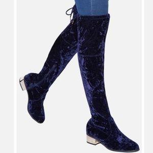 Shoedazzle Gella Purple Crushed Velvet boot Sz 9
